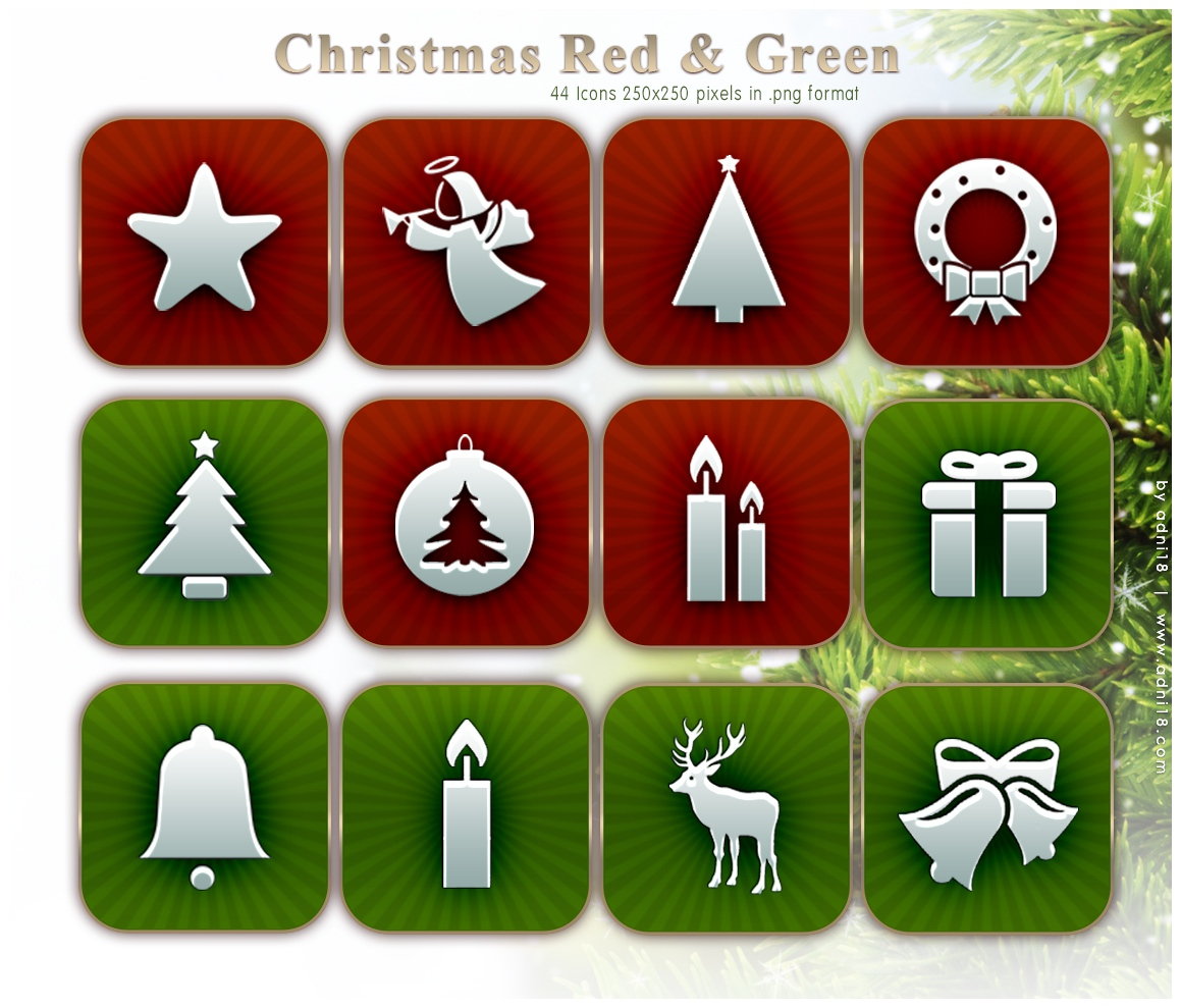CHRISTMAS ICONS RED and GREEN